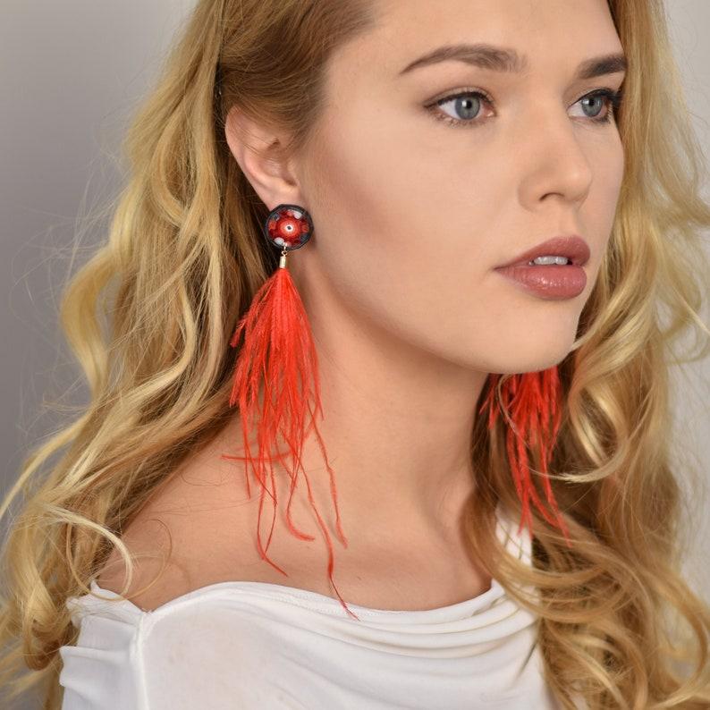 OOAK Red ostrich stud earrings long red fire earrings Trending image 0