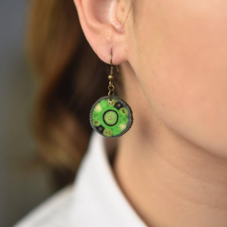 Forest green earrings coin earrings disc earrings geometric image 0