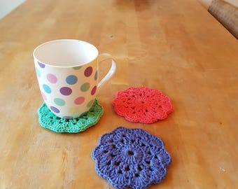 Crochet coasters, handmade. Perfect housewarming gift or just for your coffee table. Made with cotton yarn in 3 pretty colours.