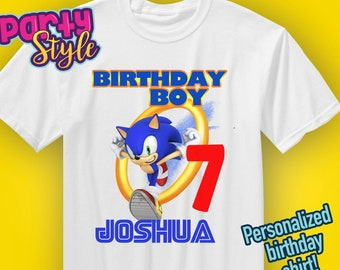 Sonic Birthday Shirt, Sonic the Hedgehog Birthday, Custom Sonic Shirts for Family, Personalized shirts, Sonic party, Sonic invitations