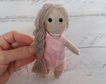 Knitted doll, a small doll, a doll for a photo shoot of newborns, a props for a photo shoot of newborns, Newborn girl props