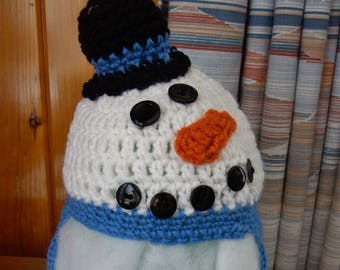 3-6 month Snowman Hat in Blue