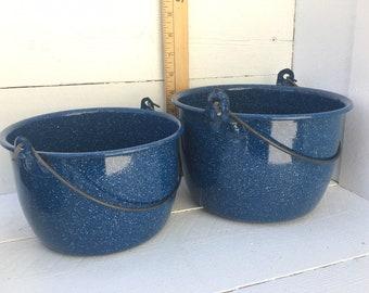 Set of 2 Dark Blue White Speckled Enamelware Granite ware nesting Pails with Handles