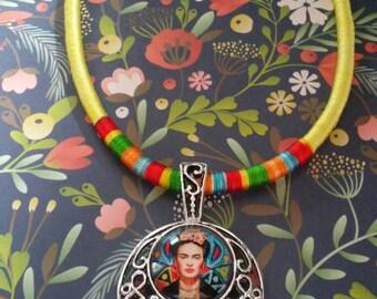 Frida Kahlo Fabric Pendant Necklace
