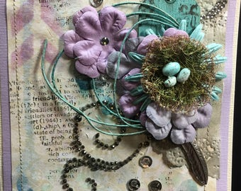 Handmade Birds Nest card