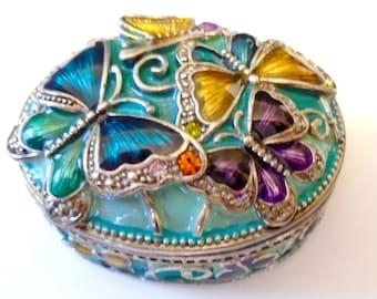 Monet Guilloche Enamel Pink Flower Heart Trinket Box Monet Heart Shape Rhinestone Flower Hinged Box Vintage Monet Collectible Enamel Box