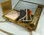 Wiesner of Miami MOP Purse, Vintage Mother of Pearl Minaudiere, Trickettes Compact Hand Purse, Vintage Compact Mirror Purse, Vintage Compact