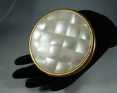 Max Factor Mirror Compact, Vintage Mother of Pearl Mirror Compact, Vintage Faux MOP Made USA Mirror Compact, Max Factor Creme Puff Compact
