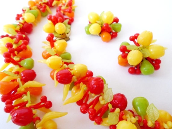 Fruit Necklace and Clip Earrings, 60s Plastic Frui