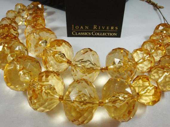 Joan Rivers Big Gold Lucite Bead Necklace, Vintage