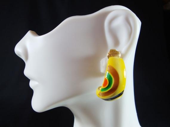 Eisenberg Artist Enamel Clip Earrings, 70's Artist