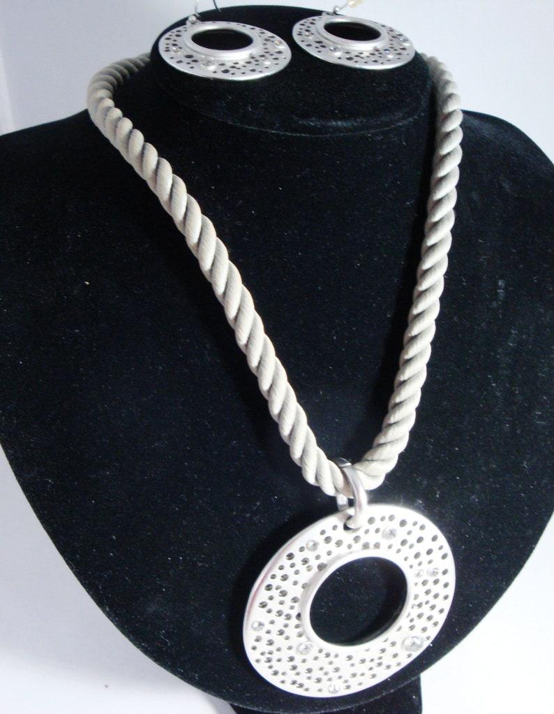 Chico/'s Silver Rhinestone Pendant Necklace and Pierced Earrings Silver Rhinestone Pendant Set Chico/'s Matte Silver Necklace and Earrings
