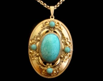 Whiting and Davis Necklace, Whiting & Davis Turquoise Pendant, Vintage Turquoise Pendant and Ear Clips, Turquoise Necklace and Earring Set