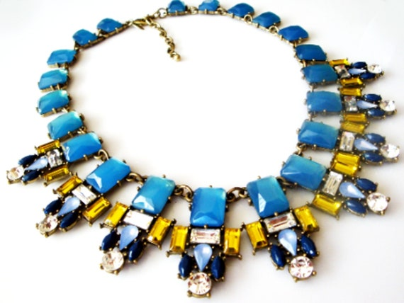 Joan Rivers Blue and Gold Rhinestone Necklace, Vin