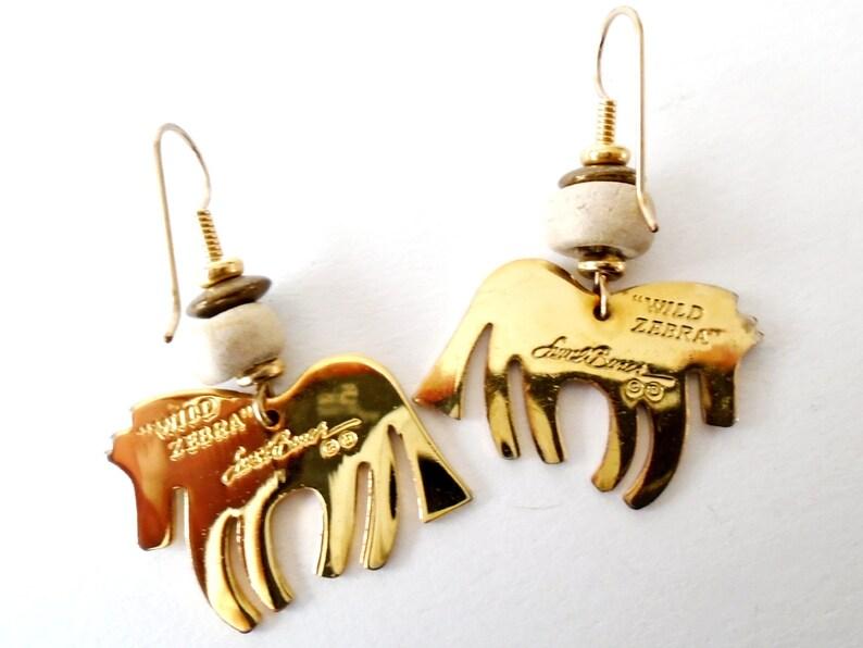 Vintage Laurel Burch Jewelry Vintage Enamel Zebra Earrings Wild Animal Earrings Laurel Burch Wild Zebra Earrings