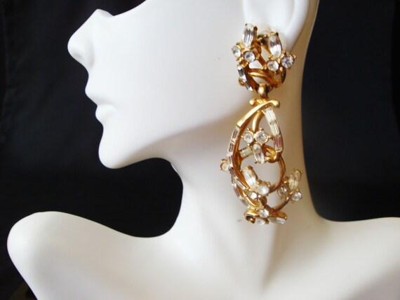 Rhinestone Flower Dangle Earrings, 1980s Rhineston