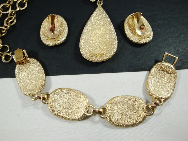 Geometric Rhinestone Sarah Coventry Clip Earrings Pendant Necklace and Link Bracelet Sarah Coventry 50/'s Geometric Gold Set