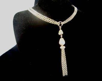 Whiting & Davis Silver Chain Tassel Pendant, Vintage Whiting and Davis Necklace, Tassel Pendant Necklace, Whiting and Davis Vintage Pendant