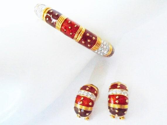 Joan Rivers Red Bracelet and Earrings, Red Enamel