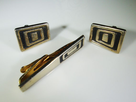 Vintage Cufflinks Hickok Hematite Art Deco Style Gold Tone