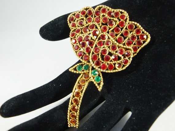 Weiss Red Rose Rhinestone Brooch, Rhinestone Rose