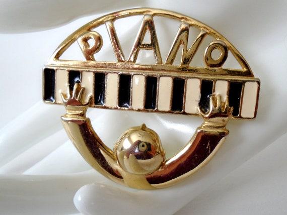 Gold Piano Man Pin, Gold Enamel Piano Brooch, Vint