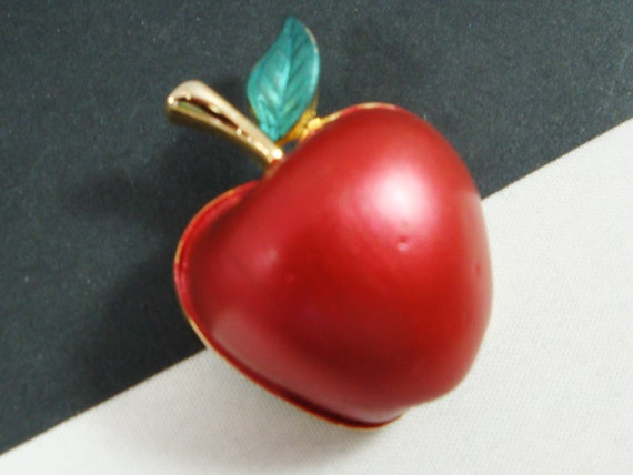 Vintage Apple Pin, Gold Tone Red Enamel Apple Broo