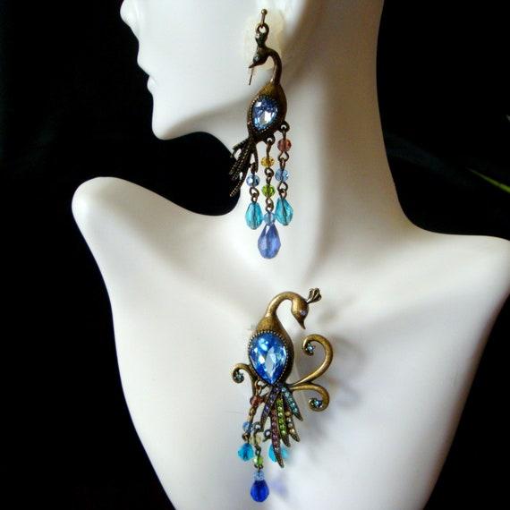 Rhinestone Peacock Brooch and Earrings, Vintage Bl
