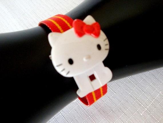 Hello Kitty Red Watch, RARE 80's Sanrio Hello Kit… - image 1