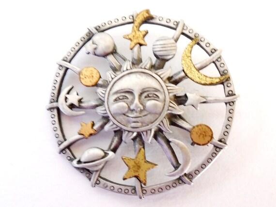 Pewter Sun Moon Stars Pin, Gold and Silver Sun Pin