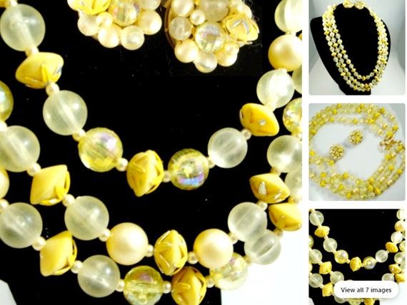 Yellow Bead Necklace & Cluster Clip Earrings, Hong