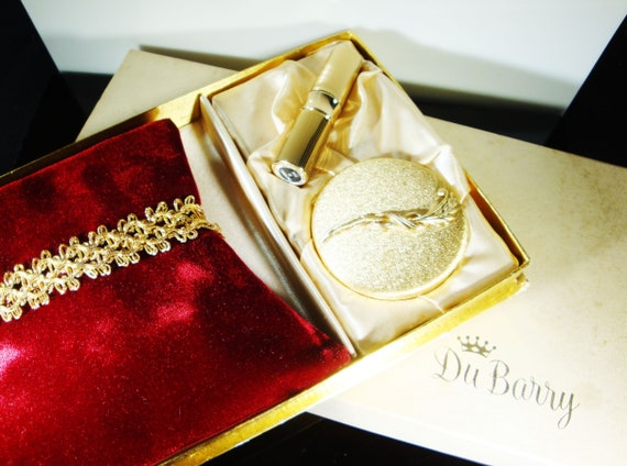 DuBarry Compact Set, 60's Mirrored Compact Lipstic