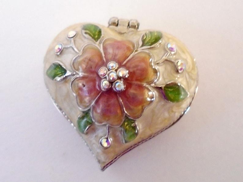 Vintage Monet Collectible Enamel Box Monet Guilloche Enamel Pink Flower Heart Trinket Box Monet Heart Shape Rhinestone Flower Hinged Box