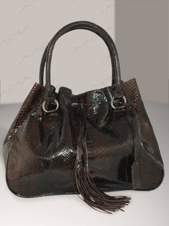 Genuine Cobra Snakeskin Hobo Bag Large Dark Brown by  0eded08de61b2