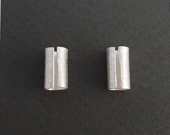 Bark silver stud earrings