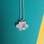 Silver lining necklace, silver cloud with brass rain drop - The Goddess collection