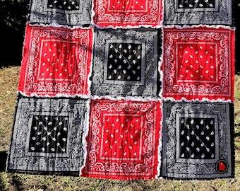 Red & Black Bandana Rag Quilt Georgia