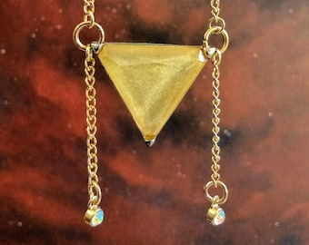 "20"" Gold Layering necklace chain with Champagne Triangle and Holographic Crystal dangle charms"