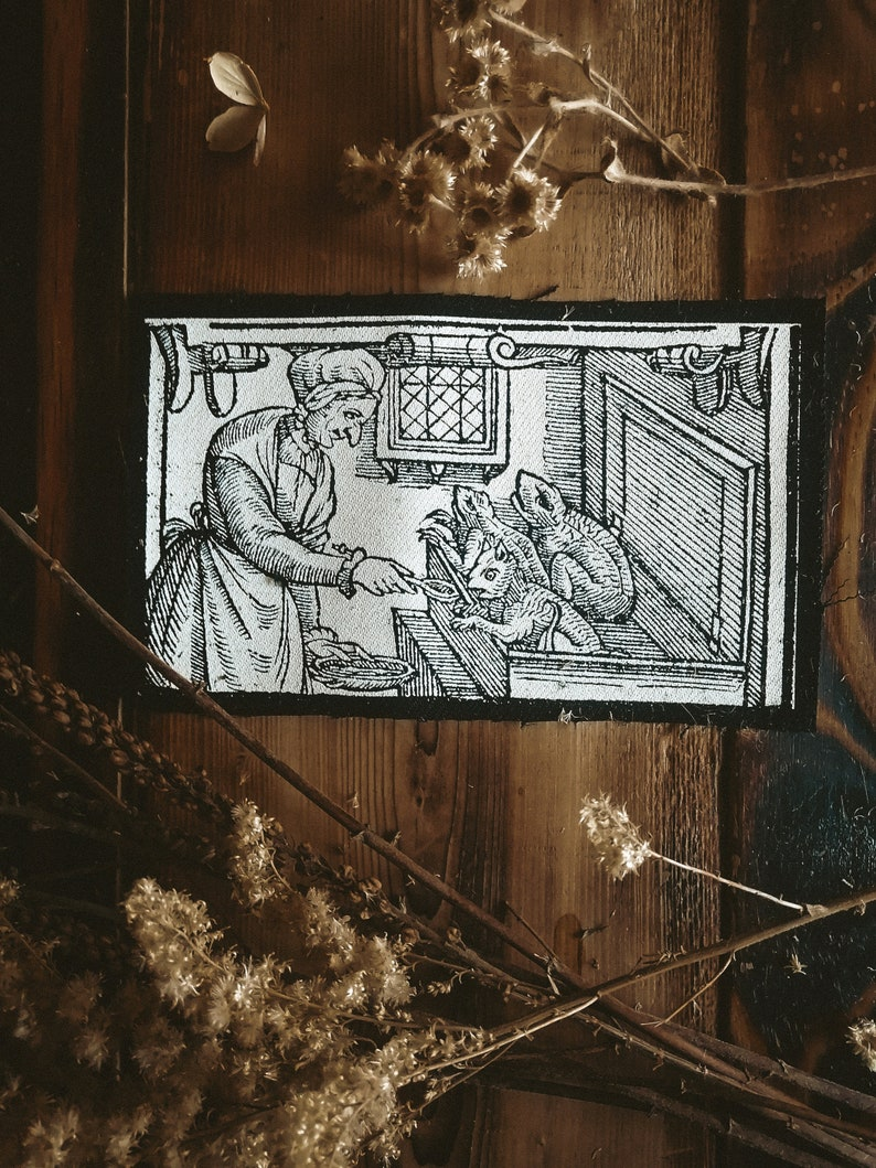 Witch Feeding her demons Elizabeth Stile Patch Punk Patch Engraving Witch Patch