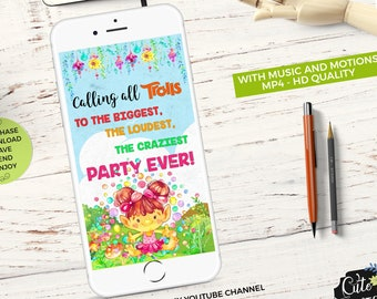 Animated invitation etsy birthday animated video invitation trolls watercolors trolls party trolls video birthday invitation trolls video video invite whatsapp stopboris Image collections