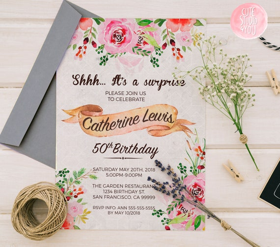 Floral Birthday Party Invitation Card Floral Invitations Wedding Invitations Woman Invite