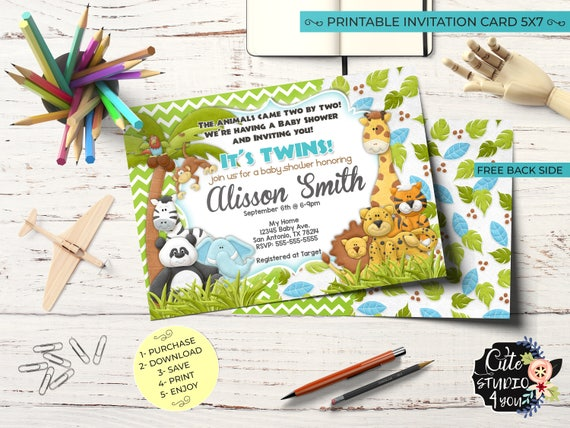 Twins Baby Shower Invitation Card Jungle Birthday Invitarions Safari Twins Boy Printable Invitation