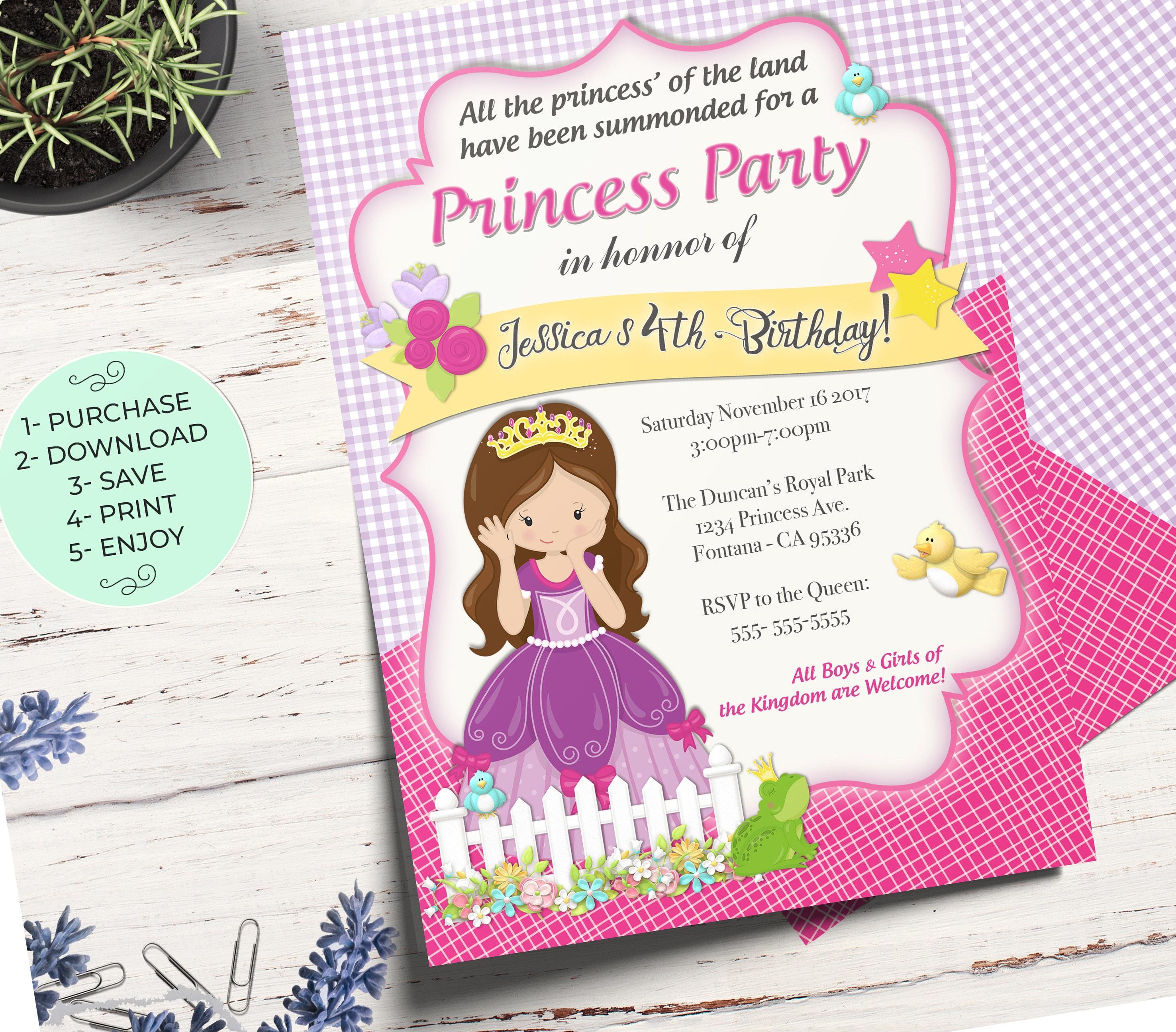 Princess Birthday Invitation Card Royal Party Invitations Girl Printable File