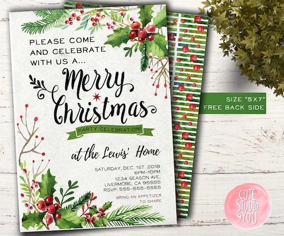 Christmas Party Invitation Card Holiday Invitation Nativity Invite Printable File
