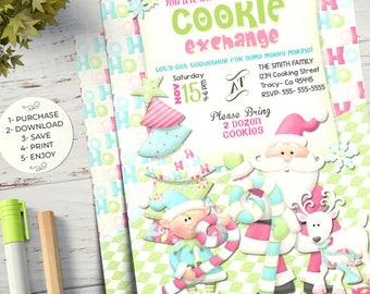 Cookie exchange invitation, Cookie exchange, Christmas cookie exchange, christmas invitation party, Cookie Printable Invitation, Cookie Card