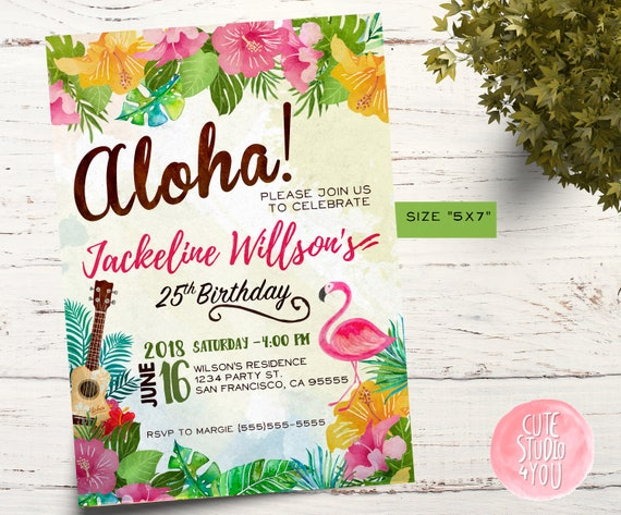 Aloha Birthday Party Invitation Card Luau Party Invitation Hawaiian Invite Pineapple Tropical Invitation Card