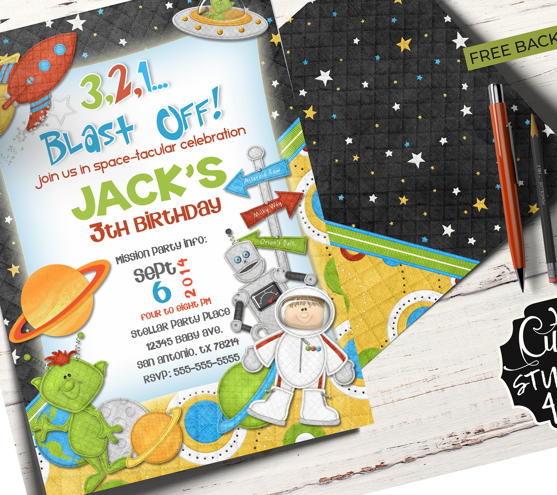 Space Birthday Party Invitation Card Invite