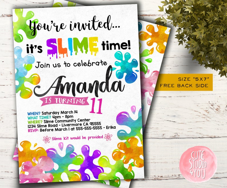 photo regarding Slime Science Printable Report named Slime Birthday invites, Boy and Lady Slime Social gathering, Glitter Slime Bash Invite, Printable Report