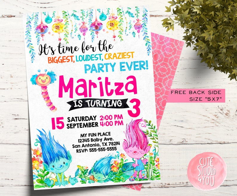 picture relating to Trolls Printable Invitations referred to as Trolls Bash Birthday Invitation Card, Trolls Printable Invitation, Trolls Watercolor Card
