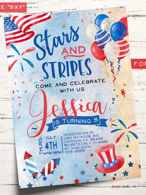 Independence Day Birthday Invitation July 4th Birthday Fourth Of July Red White Blue Patriotic For Girl